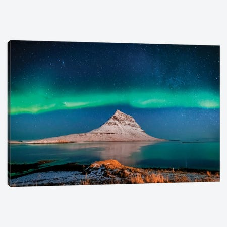 Aurora Borealis or Northern lights with the Milky Way Galaxy, Mt. Kirkjufell, Grundarfjordur, Snaefellsnes Peninsula, Iceland 3-Piece Canvas #PIM15364} by Panoramic Images Canvas Wall Art