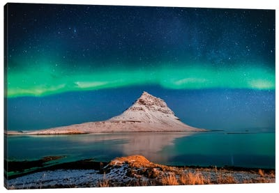 Aurora Borealis or Northern lights with the Milky Way Galaxy, Mt. Kirkjufell, Grundarfjordur, Snaefellsnes Peninsula, Iceland Canvas Art Print