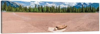 Baseball glove and ball on landscape, Baseball Diamond, Alberta, Canada Canvas Art Print