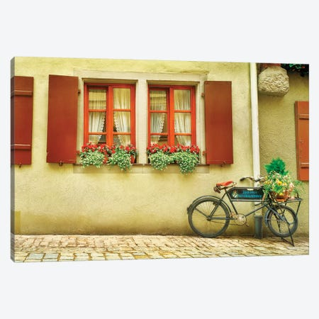 Bicycle outside a house, Rothenburg Ob Der Tauber, Bavaria, Germany Canvas Print #PIM15382} by Panoramic Images Canvas Print