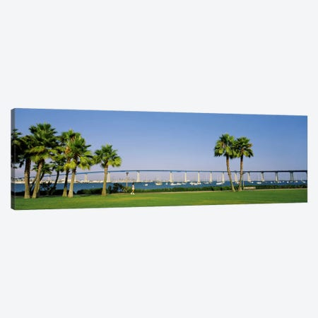 Palm trees on the coast with bridge in the background, Coronado Bay Bridge, San Diego, San Diego County, California, USA Canvas Print #PIM1538} by Panoramic Images Art Print