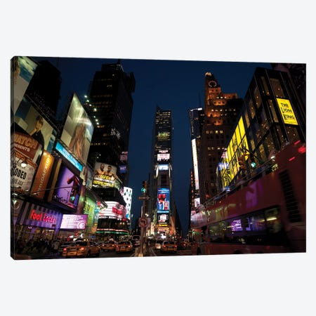 Buildings in a city lit up at dusk, Times Square, Manhattan, New York City, New York State, USA Canvas Print #PIM15395} by Panoramic Images Canvas Print