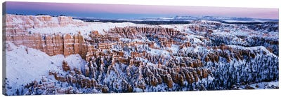 Canyon covered with snow, Bryce Point, Bryce Canyon National Park, Utah, USA Canvas Art Print