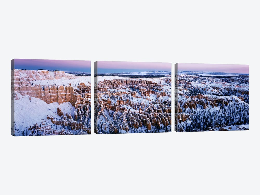 Canyon covered with snow, Bryce Point, Bryce Canyon National Park, Utah, USA by Panoramic Images 3-piece Canvas Artwork