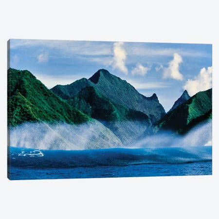 Clouds over mountain range, Moorea, Tahiti, Society Islands, French Polynesia Canvas Print #PIM15452} by Panoramic Images Art Print