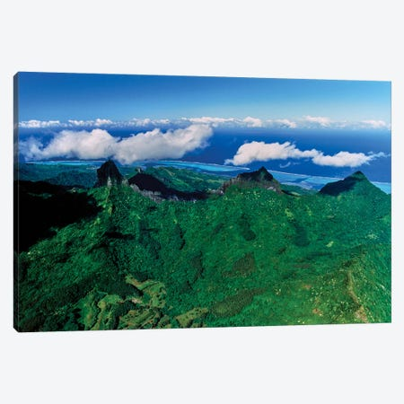 Clouds over mountain range, Moorea, Tahiti, Society Islands, French Polynesia Canvas Print #PIM15453} by Panoramic Images Canvas Print