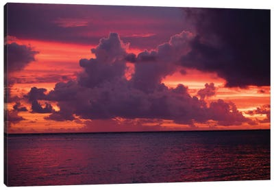 Clouds over the Pacific Ocean at sunset, Bora Bora, Society Islands, French Polynesia Canvas Art Print