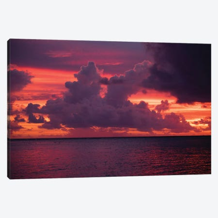 Clouds over the Pacific Ocean at sunset, Bora Bora, Society Islands, French Polynesia Canvas Print #PIM15454} by Panoramic Images Canvas Wall Art