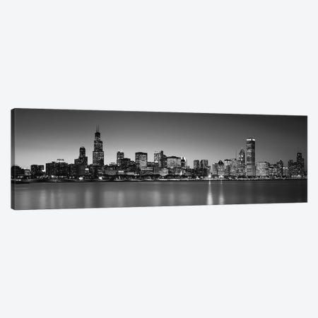 Dusk, Skyline, Chicago, Illinois, USA BW Black and White Canvas Print #PIM15468} by Panoramic Images Canvas Artwork