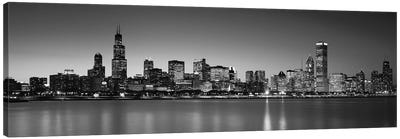 Dusk, Skyline, Chicago, Illinois, USA BW Black and White Canvas Art Print