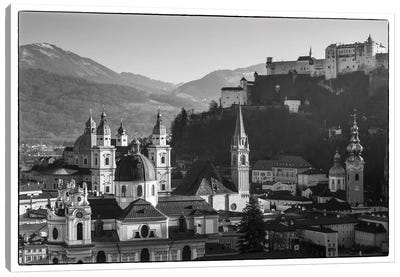 Elevated view of buildings in city, Salzburg, Salzburgerland, Austria Canvas Art Print