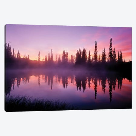 Fir trees reflect in Reflection Lake at sunrise, Mt. Rainier National Park, Washington, USA Canvas Print #PIM15483} by Panoramic Images Canvas Art