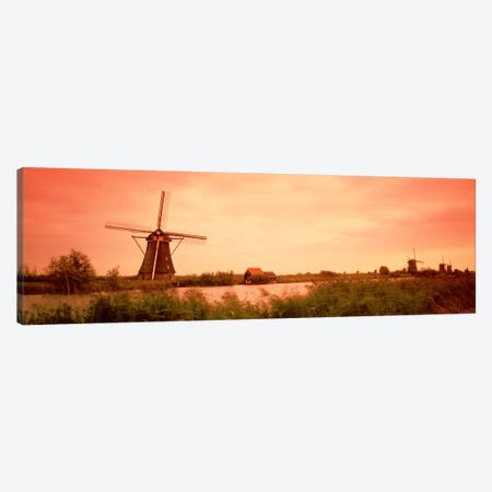 18th Century Windmill, Kinderdigk, South Holland, Netherlands Canvas Print #PIM1548} by Panoramic Images Canvas Art
