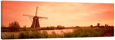 18th Century Windmill, Kinderdigk, South Holland, Netherlands Canvas Print #PIM1548