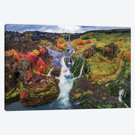 Gjaarfoss, Thjorsardalur valley, Iceland Canvas Print #PIM15496} by Panoramic Images Canvas Art