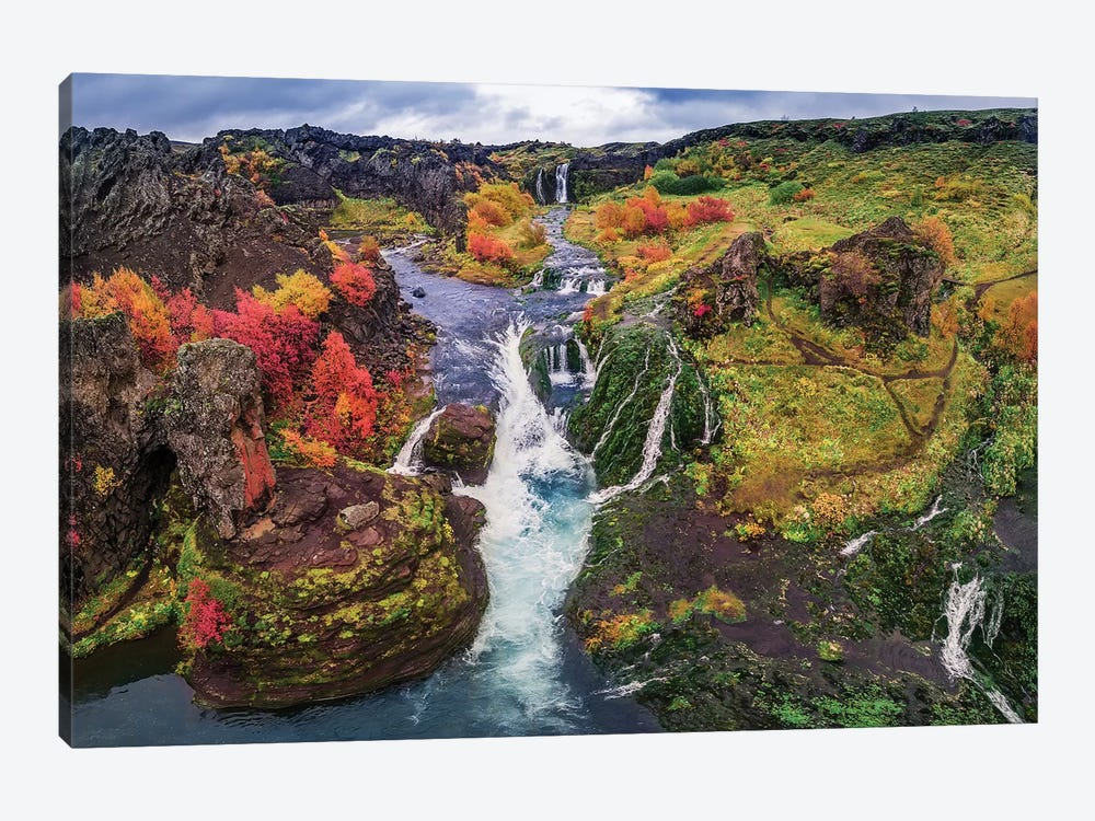 Gjaarfoss, Thjorsardalur valley, Iceland by Panoramic Images 1-piece Canvas Art