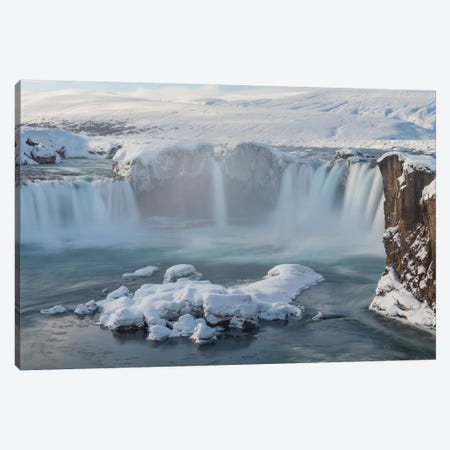Godafoss waterfall in winter, Iceland Canvas Print #PIM15500} by Panoramic Images Canvas Art Print