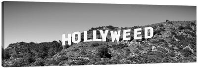 Hollywood Sign changed to Hollyweed, at Hollywood Hills, Los Angeles, California, USA Canvas Art Print