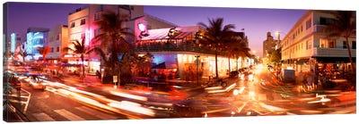 Traffic on a road, Ocean Drive, Miami, Florida, USA Canvas Print #PIM1551