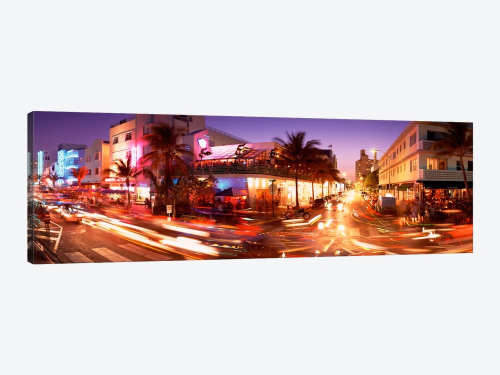 Traffic on a road, Ocean Drive, Miami, Florida, USA by Panoramic Images 1-piece Canvas Artwork