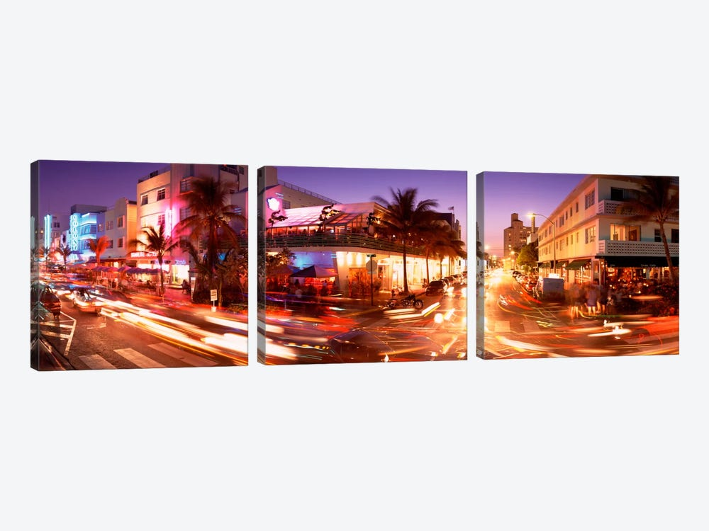 Traffic on a road, Ocean Drive, Miami, Florida, USA by Panoramic Images 3-piece Canvas Wall Art
