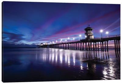 Huntington Beach Pier at dusk, California, USA Canvas Art Print