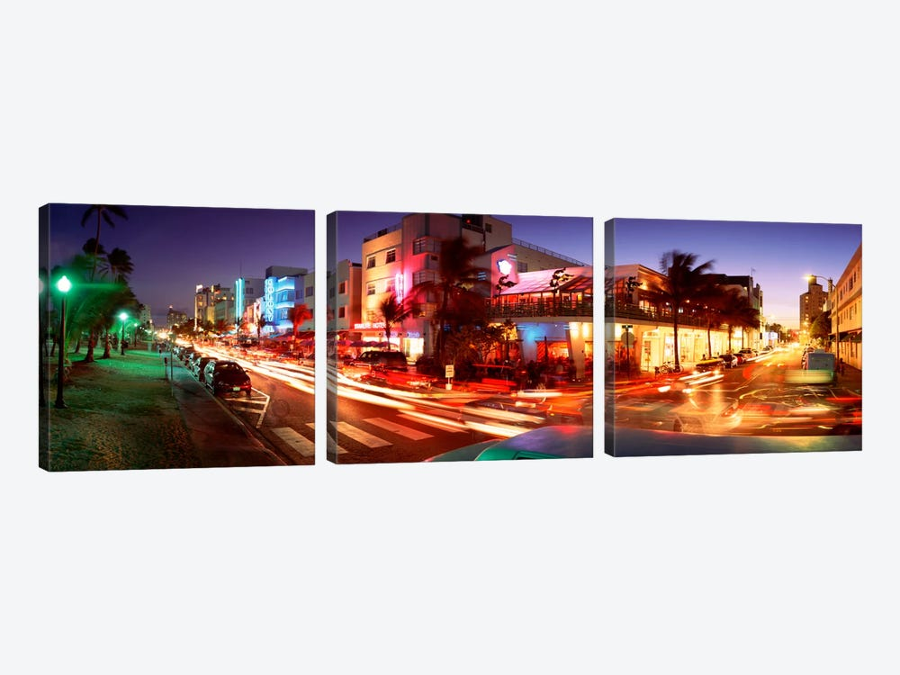 Traffic On A Road, Ocean Drive, Miami, Florida, USA #2 by Panoramic Images 3-piece Canvas Art Print