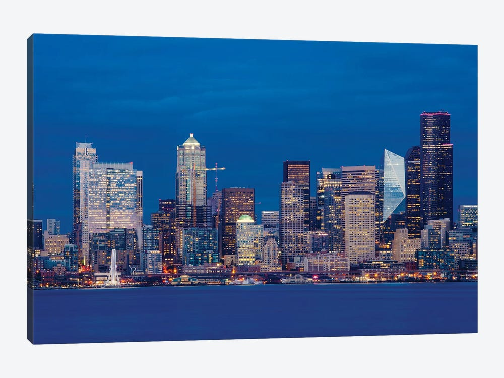Illuminated city at night, Seattle, Washington, USA by Panoramic Images 1-piece Canvas Print