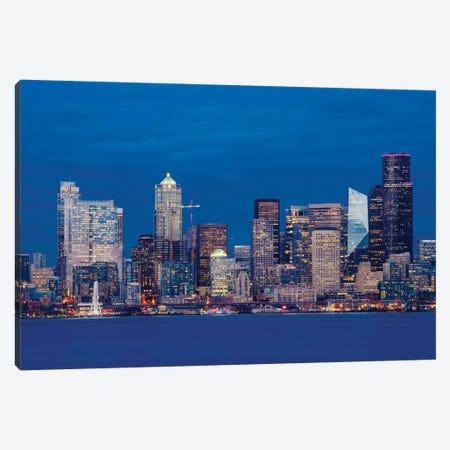 Illuminated city at night, Seattle, Washington, USA Canvas Print #PIM15538} by Panoramic Images Canvas Artwork