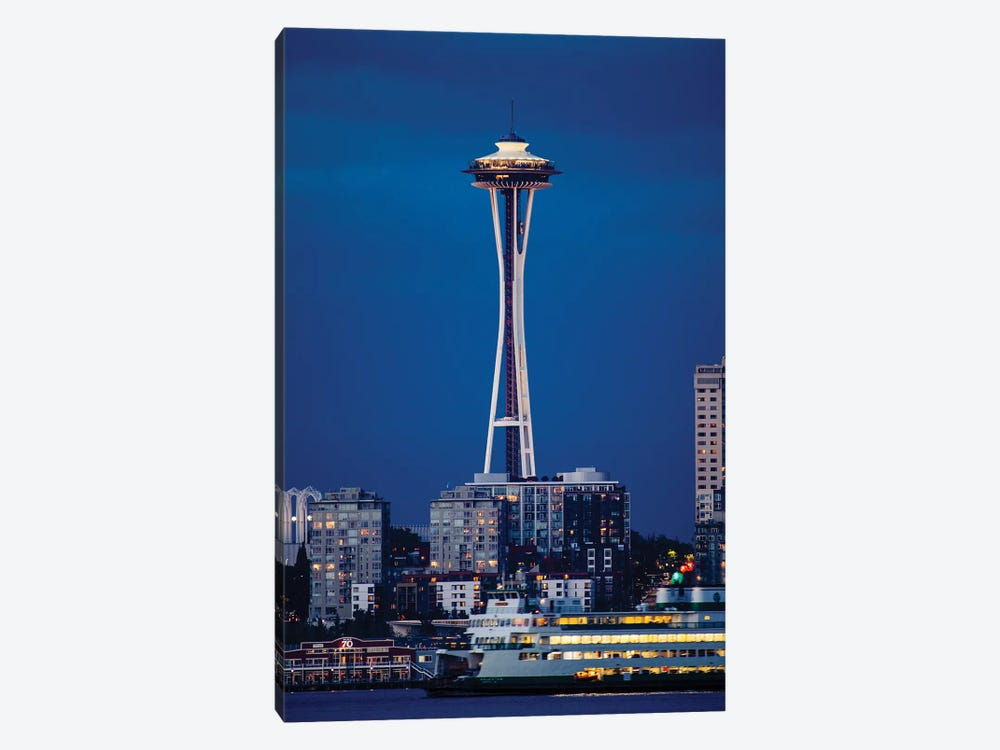 Illuminated city at night, Seattle, Washington, USA by Panoramic Images 1-piece Canvas Art