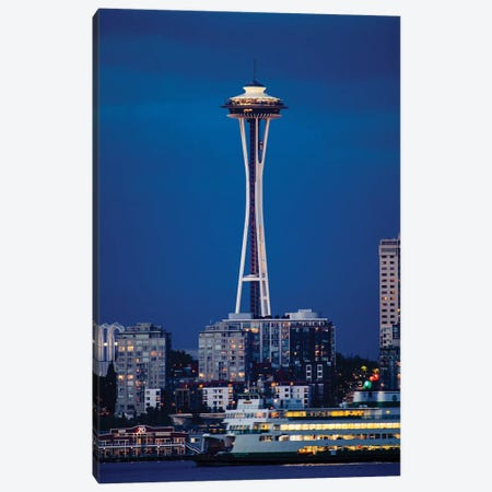 Illuminated city at night, Seattle, Washington, USA Canvas Print #PIM15539} by Panoramic Images Canvas Art