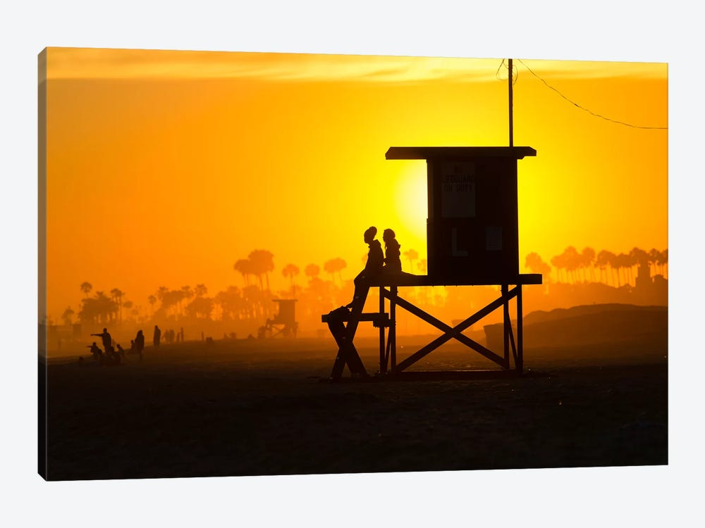 Lifeguard Tower on the beach, Newport Beach, California, USA by Panoramic Images 1-piece Canvas Print