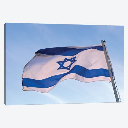 Low angle view of an Israeli Flag fluttering, Israel Canvas Print #PIM15577} by Panoramic Images Canvas Art Print