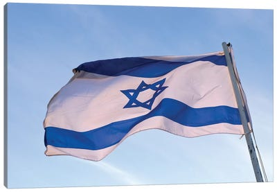Low angle view of an Israeli Flag fluttering, Israel Canvas Art Print