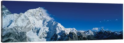 Low angle view of mountains covered with snow, Himalaya Mountains, Khumba Region, Nepal Canvas Art Print