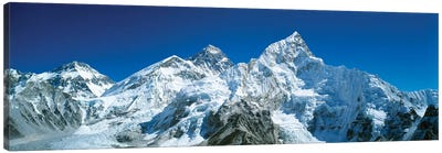 Low angle view of snowcapped mountains, Himalayas, Khumba Region, Nepal Canvas Art Print