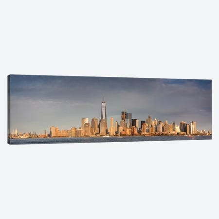 Lower Manhattan skyline with Freedom Tower from New Jersey at dusk, Manhattan, New York City, New York State, USA Canvas Print #PIM15583} by Panoramic Images Canvas Print