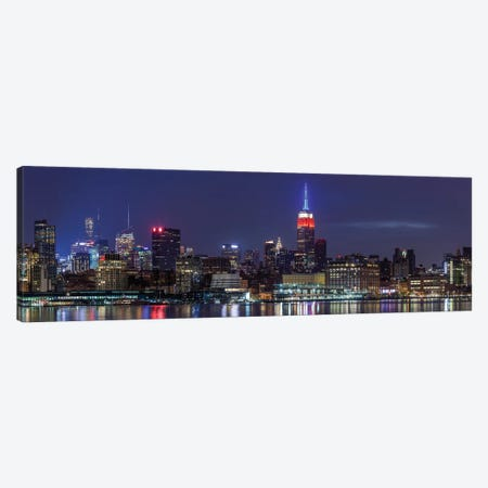 Manhattan skyline with Empire State Building from Hoboken at dawn, New York City, New York State, USA Canvas Print #PIM15592} by Panoramic Images Canvas Artwork