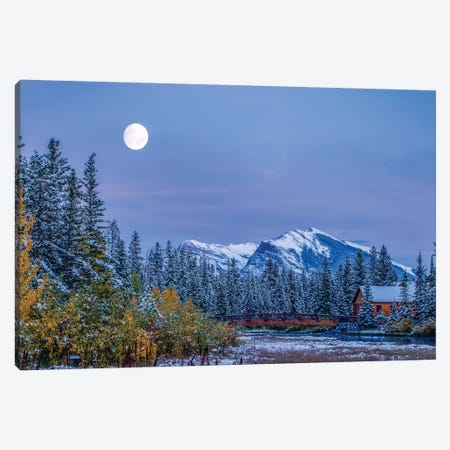 Moon over Pigeon Mountain and log cabin in forest and bridge near Policemans Creek, Canmore, Alberta, Canada Canvas Print #PIM15598} by Panoramic Images Canvas Artwork