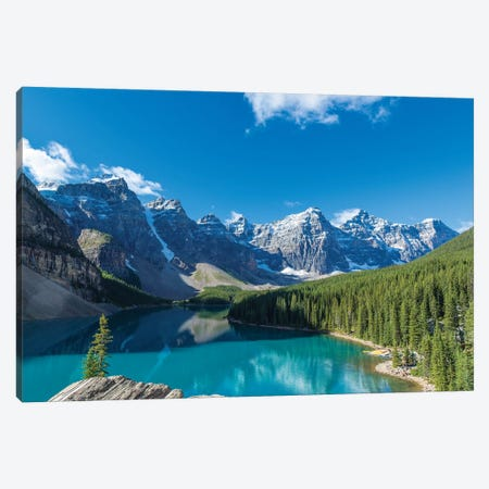 Moraine Lake at Banff National Park in the Canadian Rockies near Lake Louise, Alberta, Canada Canvas Print #PIM15600} by Panoramic Images Canvas Artwork