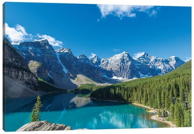 Moraine Lake at Banff National Park in the Canadian Rockies near Lake Louise, Alberta, Canada Canvas Art Print