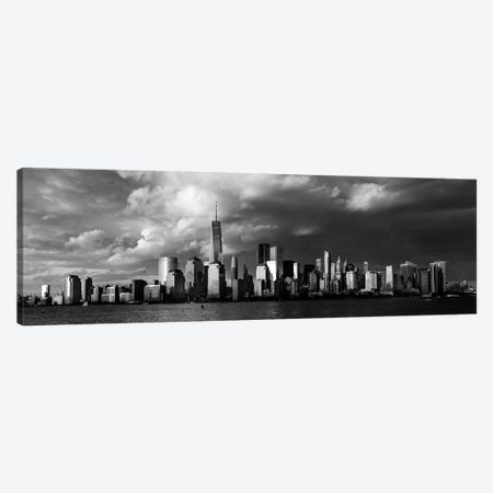 New York City Spectacular Sunset fin black and white focuses on One World Trade Tower, Freedom Tower, NY Canvas Print #PIM15611} by Panoramic Images Canvas Print