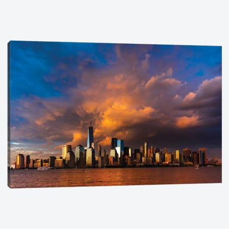 New York City Spectacular Sunset focuses on One World Trade Tower, Freedom Tower, NY Canvas Print #PIM15612} by Panoramic Images Canvas Print