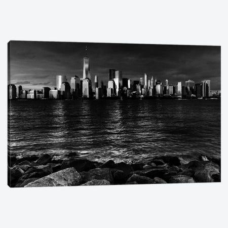 New York City Spectacular Sunset in black and white focuses on One World Trade Tower, Freedom Tower, NY Canvas Print #PIM15613} by Panoramic Images Art Print