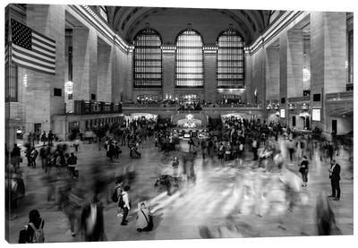 New York, New York, USA - Passengers walking in great hall of Grand Central Station in black and white Canvas Art Print