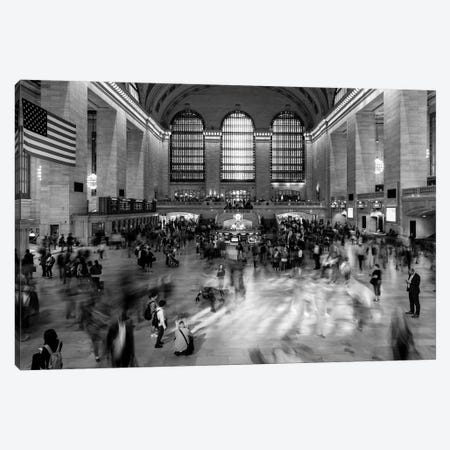 New York, New York, USA - Passengers walking in great hall of Grand Central Station in black and white Canvas Print #PIM15614} by Panoramic Images Canvas Wall Art