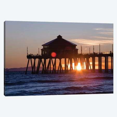Pier in the Pacific Ocean at dusk, Huntington Beach Pier, Huntington Beach, California, USA Canvas Print #PIM15637} by Panoramic Images Canvas Artwork