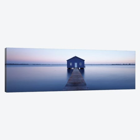 Pier leading to a boathouse, Swan River, Matilda Bay, Perth, Western Australia, Australia 3-Piece Canvas #PIM15639} by Panoramic Images Canvas Art Print