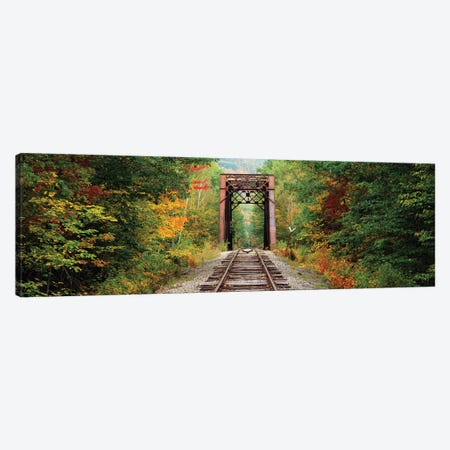 Railroad track passing through a forest, White Mountain National Forest, New Hampshire, USA Canvas Print #PIM15680} by Panoramic Images Canvas Wall Art