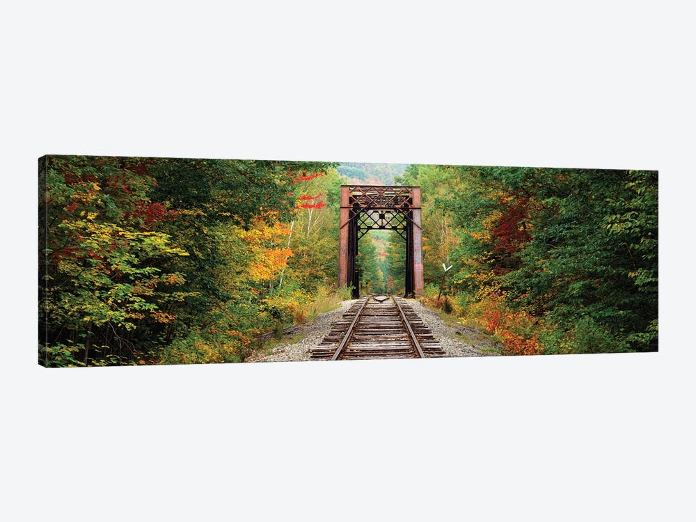 Railroad track passing through a forest, White Mountain National Forest, New Hampshire, USA by Panoramic Images 1-piece Canvas Art